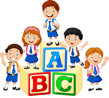 Ilustración de Little happy children with alphabet block - Imagen libre de derechos