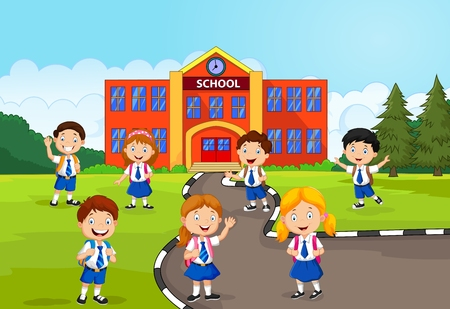 Illustrazione per Happy school children in front of the school - Immagini Royalty Free