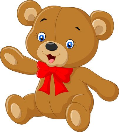 Illustration pour Teddy bear A illustration of a cute cartoon teddy bear waving hand - image libre de droit