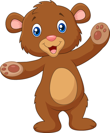 Ilustración de Vector illustration of Cartoon happy baby brown bear waving hand - Imagen libre de derechos