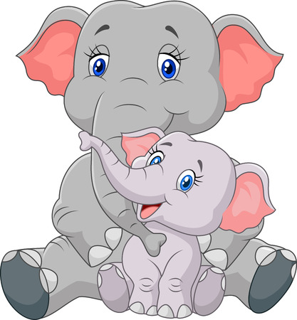 Vector illustration of Cartoon mother and baby elephant sitting isolated on white background