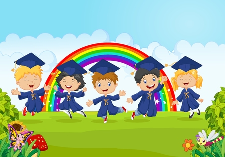 Ilustración de Vector illustration of Happy little kids celebrate their graduation with nature background - Imagen libre de derechos