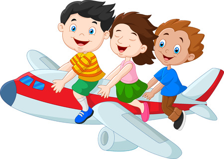Illustration pour Vector illustration of Cartoon little kids riding airplane isolated on white background - image libre de droit