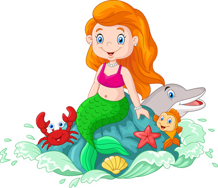 Illustrazione per illustration of Cartoon happy little mermaid sitting on the rock - Immagini Royalty Free