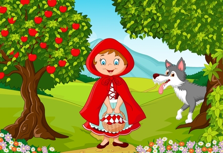 Illustrazione per illustration of Little Red Riding Hood meeting with a wolf - Immagini Royalty Free