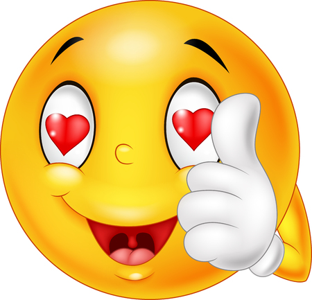 Illustration pour illustration of Cartoon smiley love face and giving thumb up. illustration - image libre de droit