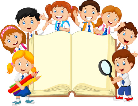 Photo for illustration of Cartoon school children with book isolated - Royalty Free Image