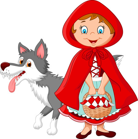 Illustration pour illustration of Little Red Riding Hood meeting with a wolf - image libre de droit