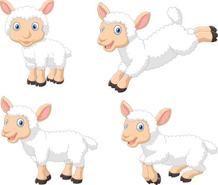 Ilustración de illustration of cartoon sheep collection set, isolated on white background - Imagen libre de derechos