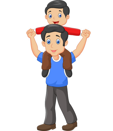 Illustration pour illustration of Father giving his son piggyback ride. - image libre de droit