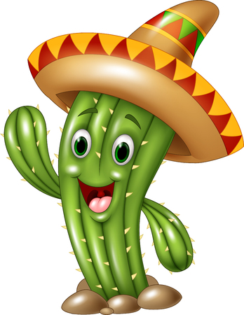 Illustration for Vector illustration of Happy cactus waving hand isolated on white background - Royalty Free Image