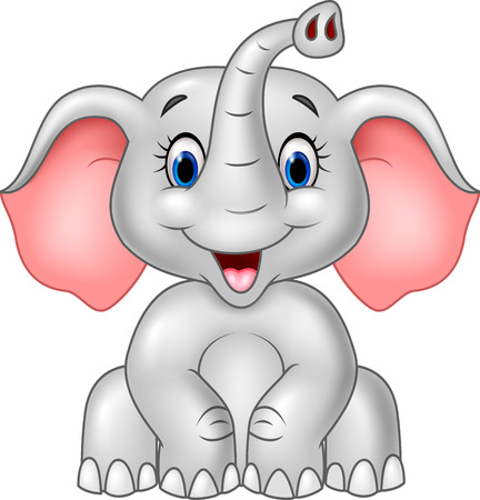 Vector illustration of Cartoon cute baby elephant isolated on white background