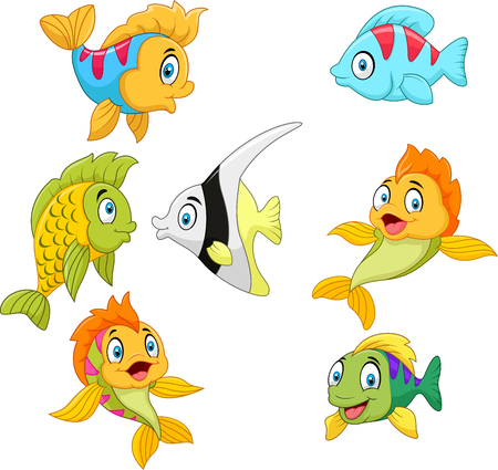Vector illustration of Cartoon fish collection set isolated on white background