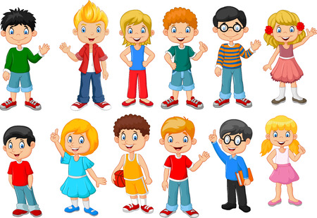 Illustration pour Vector illustration of Happy little kids collection set. isolated on white background - image libre de droit
