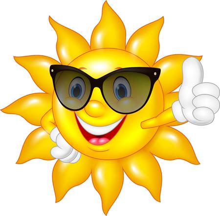 Ilustración de Vector illustration of Cartoon sun giving thumbs up isolated on white background - Imagen libre de derechos