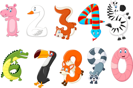 Vector illustration of number with a animal concept