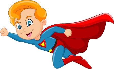 Ilustración de Vector illustration of Cartoon superhero boy isolated on white background - Imagen libre de derechos
