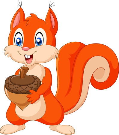 Illustration pour Vector illustration of Cartoon squirrel holding pinecone isolated on white background - image libre de droit
