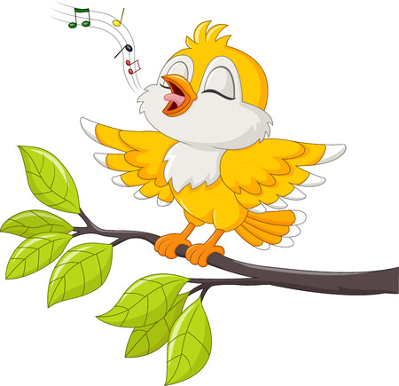 Illustration pour Vector illustration of Cute yellow bird singing isolated on white background - image libre de droit