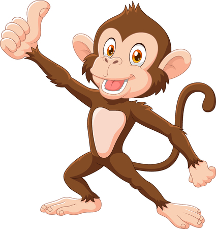 Illustration pour Vector illustration of Cute monkey giving thumb up isolated on white background - image libre de droit