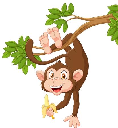 Illustration for Vector illustration of Cartoon happy monkey hanging and holding banana - Royalty Free Image