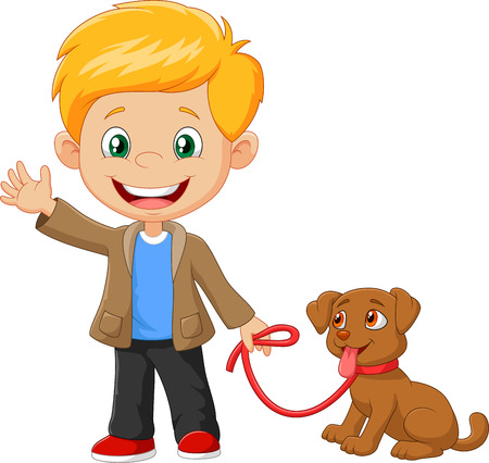 Vector illustration of Little boy with his dog isolated on white background
