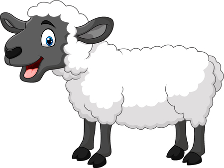 Vector illustration of Cartoon happy sheep posing isolated on white background