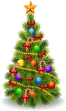 Foto per Vector illustration of decorated Christmas tree isolated on white background - Immagine Royalty Free