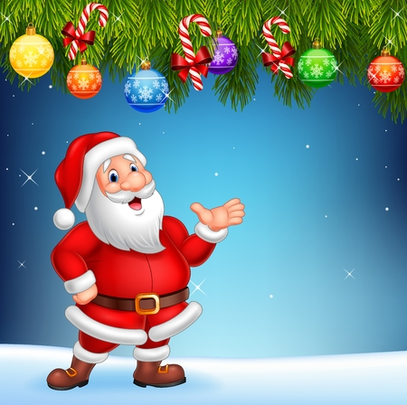 Illustration for Vector illustration of Cartoon Santa Claus waving hand with Christmas decoration - Royalty Free Image