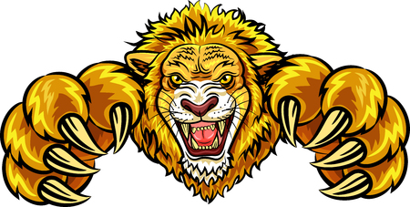 Illustration for Vector illustration of angry lion mascot - Royalty Free Image