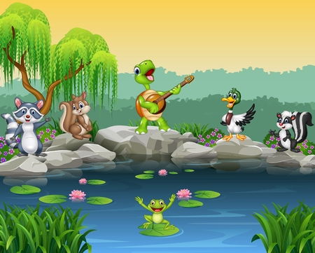 Illustration pour Vector illustration of Cartoon happy animals singing collection - image libre de droit