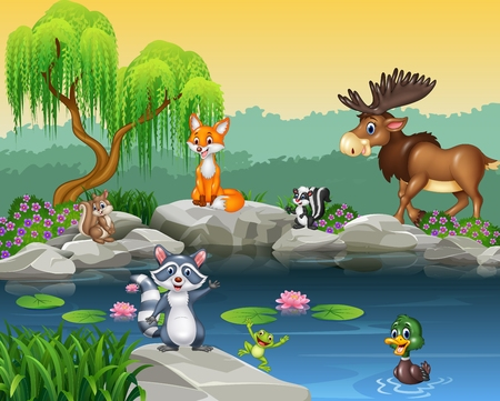 Photo for Vector illustration of Cartoon funny animal collection on the beautiful nature background - Royalty Free Image