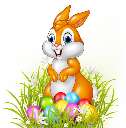 Illustration pour Vector illustration of Cartoon bunny with easter eggs - image libre de droit