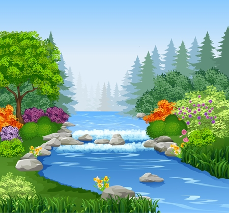 Ilustración de Vector illustration of Beautiful mountain river in forest - Imagen libre de derechos