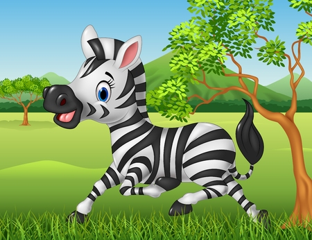 Illustration for Vector illustration of Happy zebra running in the jungle - Royalty Free Image