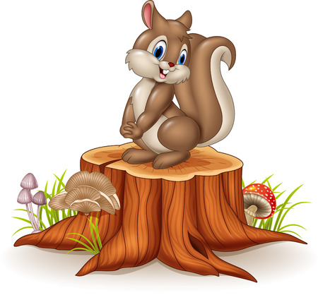 Illustration pour Vector illustration of Cartoon funny squirrel on tree stump - image libre de droit