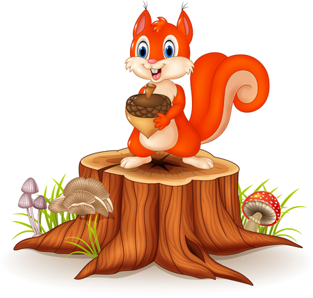Illustration pour Vector illustration of Cartoon squirrel holding pinecone on tree stump - image libre de droit