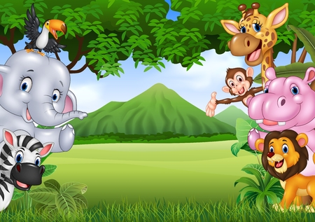 Illustration for Vector illustration of Cartoon wild animals with nature landscape background - Royalty Free Image