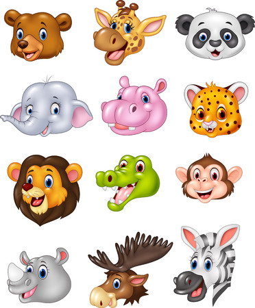 Illustration pour Vector illustration of Cartoon wild animal head collection - image libre de droit