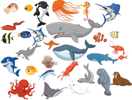Illustration for Vector illustration of Cartoon sea animals isolated on white background - Royalty Free Image