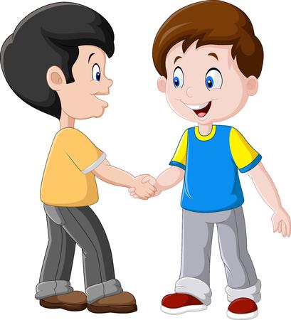 Illustrazione per illustration of Little Boys Shaking Hands - Immagini Royalty Free