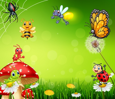 Illustration pour illustration of Cartoon small insect with nature background - image libre de droit