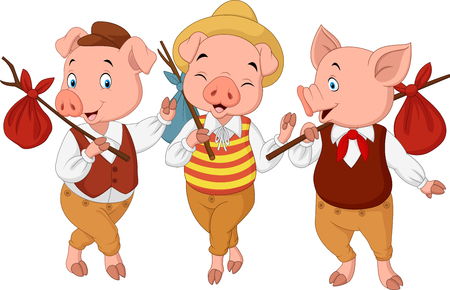 Illustration pour Vector illustration of Cartoon three little pigs - image libre de droit