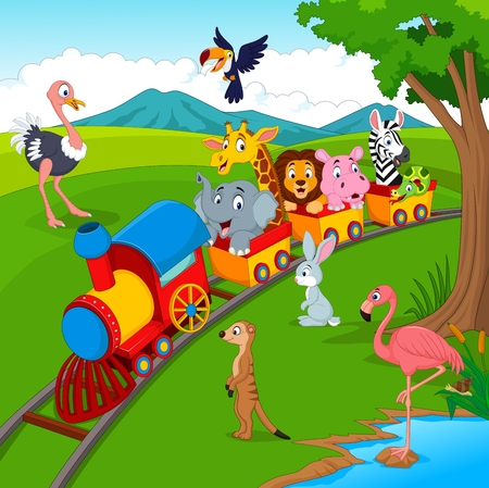 Illustration for Illustration of Cartoon train on railroad with wild animals - Royalty Free Image