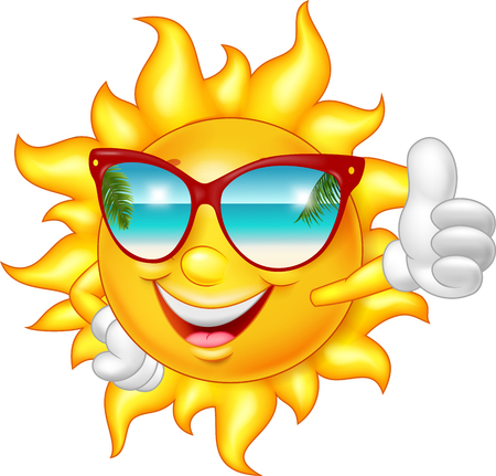 Ilustración de Cartoon smiling sun giving thumb up - Imagen libre de derechos