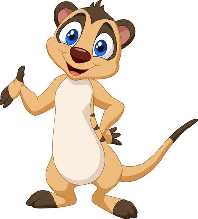 Photo pour Vector illustration of Cartoon meerkat posing - image libre de droit