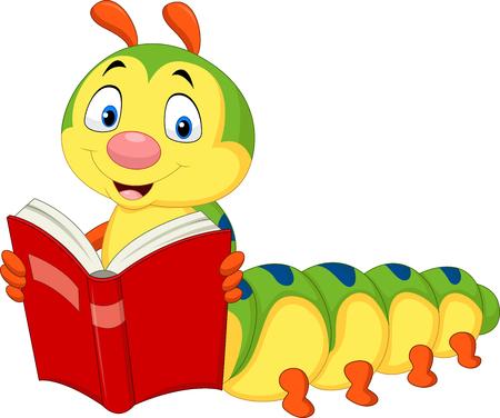 Illustration for Vector illustration of cartoon caterpillar reading book - Royalty Free Image