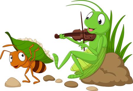 Ilustración de Vector illustration of cartoon the ant and the grasshopper - Imagen libre de derechos