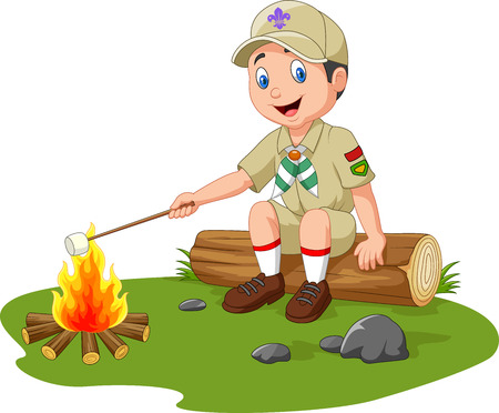 Illustration pour Vector illustration of Cartoon scout roasting marshmallow - image libre de droit