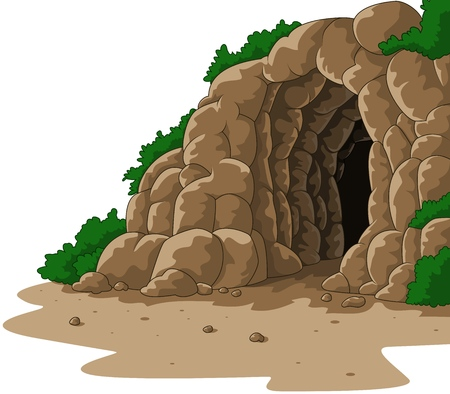 Ilustración de Vector illustration of Cartoon cave isolated on white background - Imagen libre de derechos